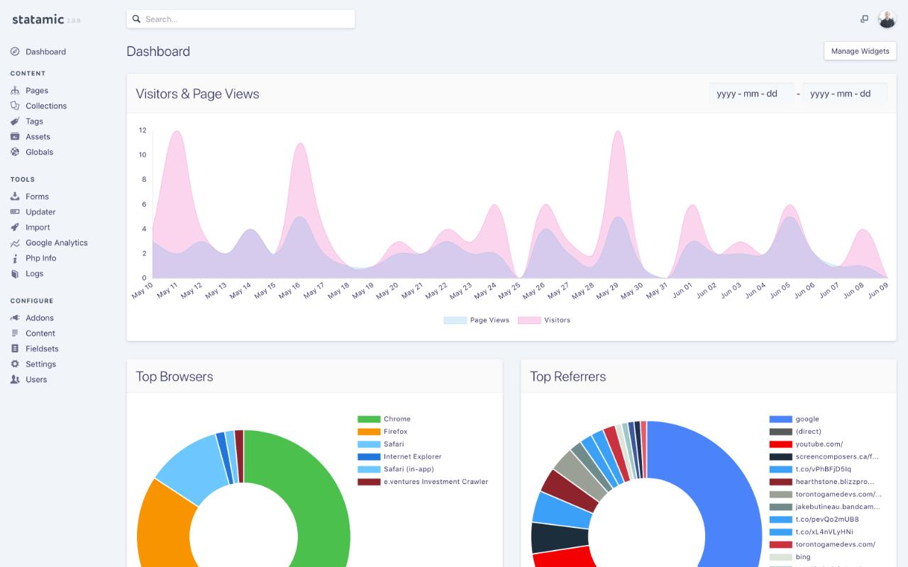 Google Analytics - a Statamic Addon