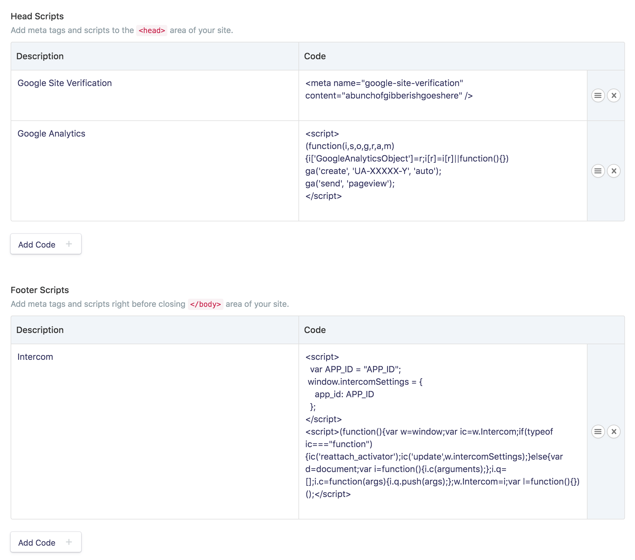 Head and Footer Embed Grid Fields