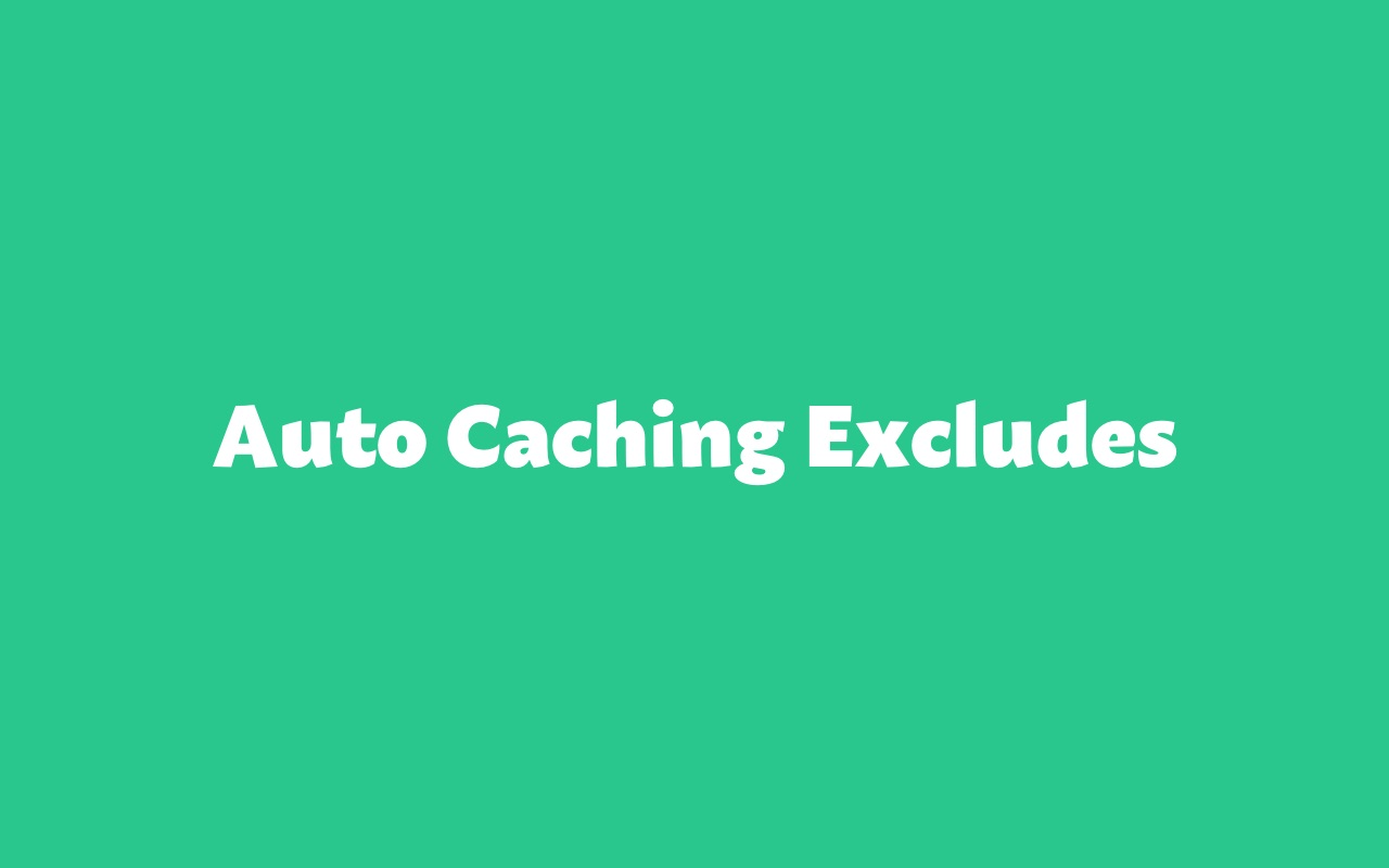 Auto Caching Excludes